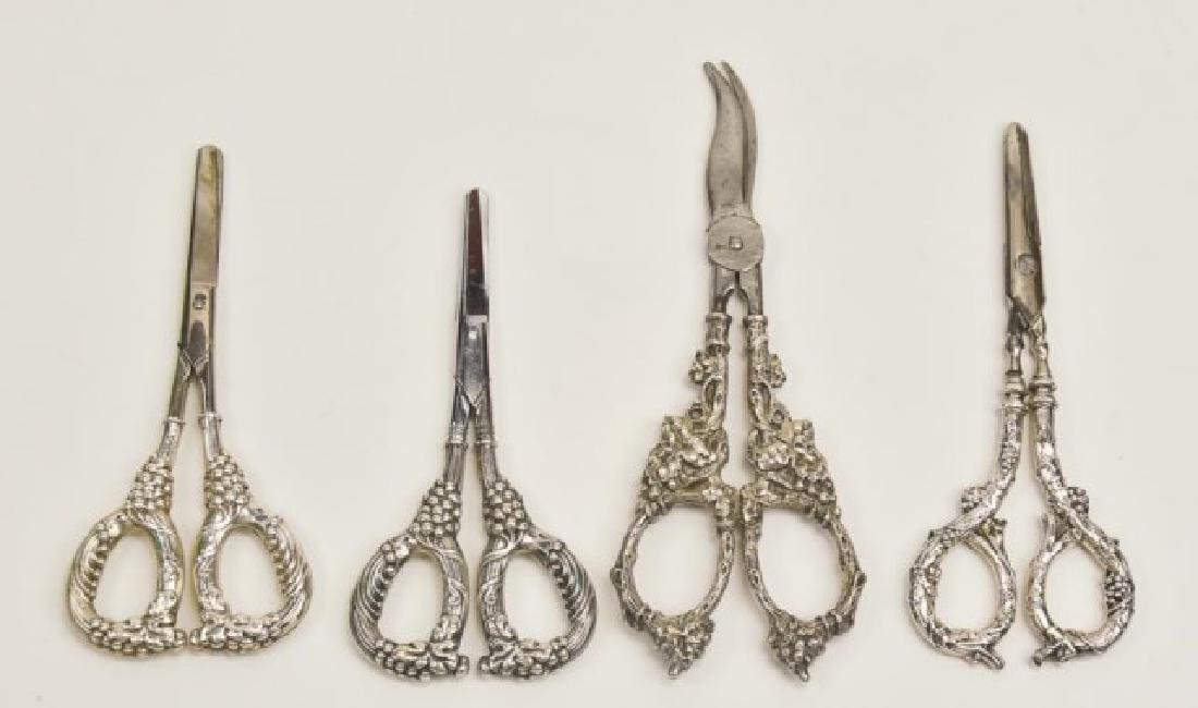 Four Pairs of Sterling Grape Shears