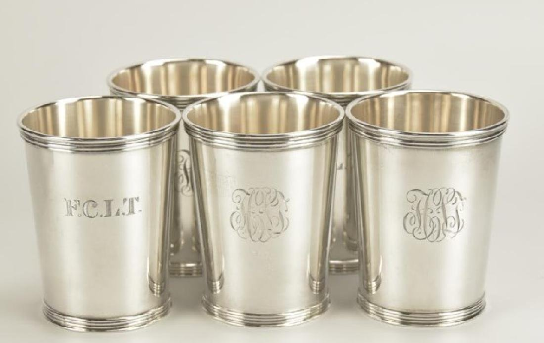 Set of Five Sterling Silver Mint Julep Cups