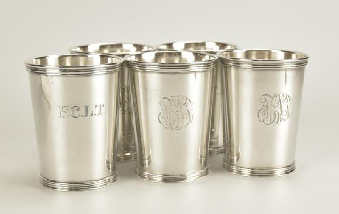 Set of Five Sterling Silver Mint Julep Cups - 2