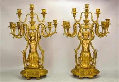 Pair 19th C. Louis XV Style Gilt Candelabra
