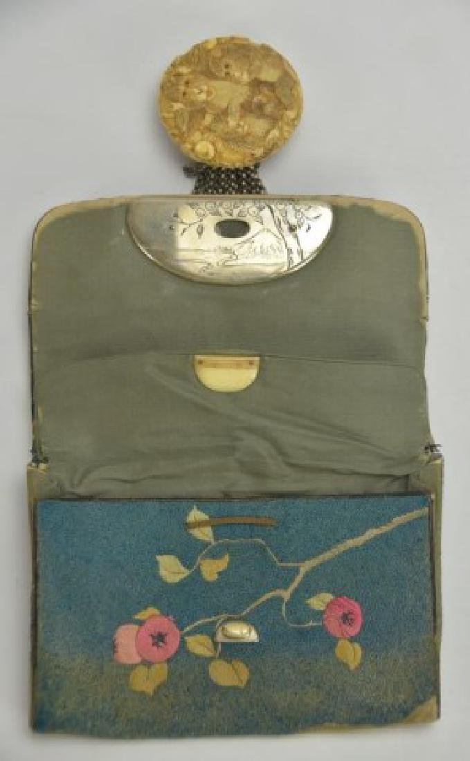 Signed Japanese Embroidered Tobacco Pouch - 3