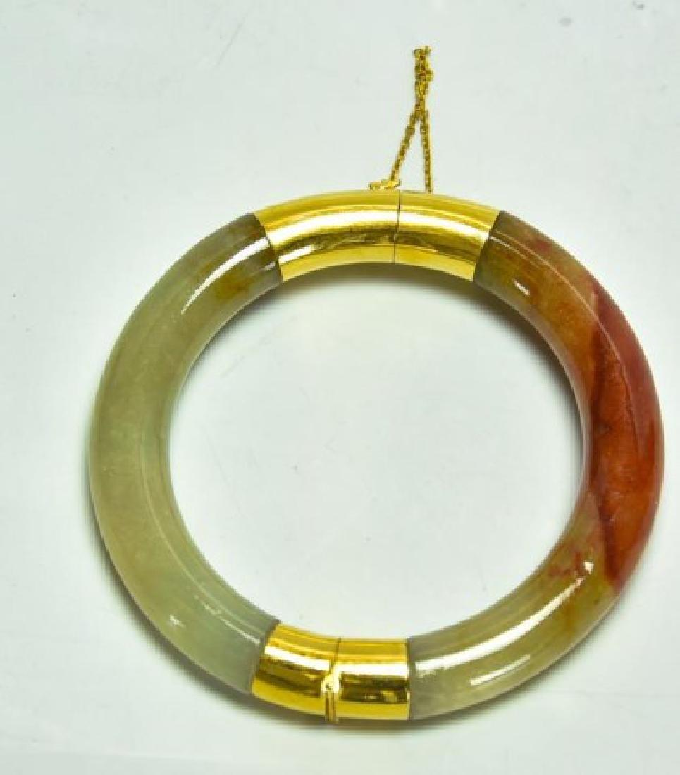 18kt Gold & Jade Bangle Bracelet