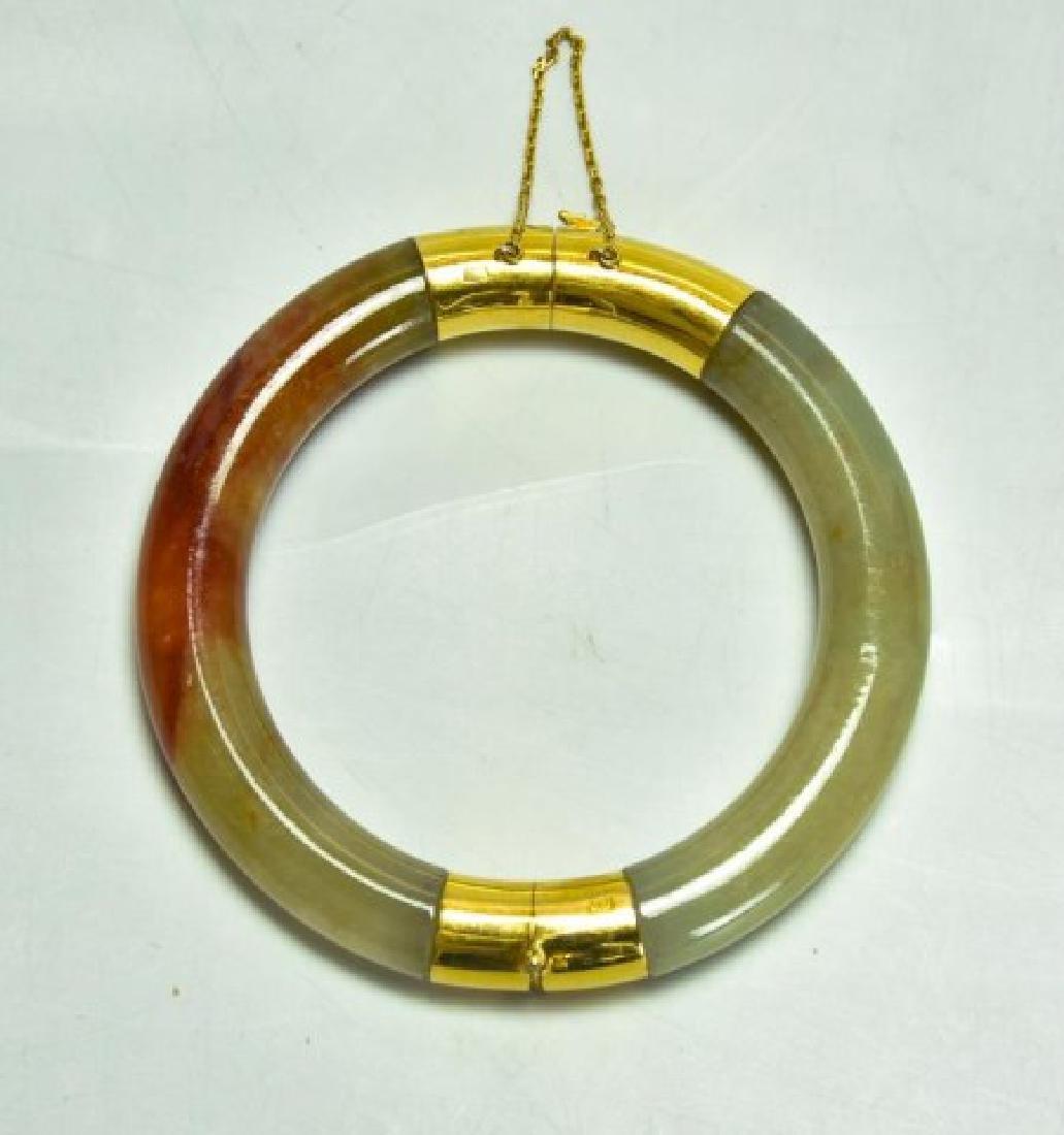 18kt Gold & Jade Bangle Bracelet - 2