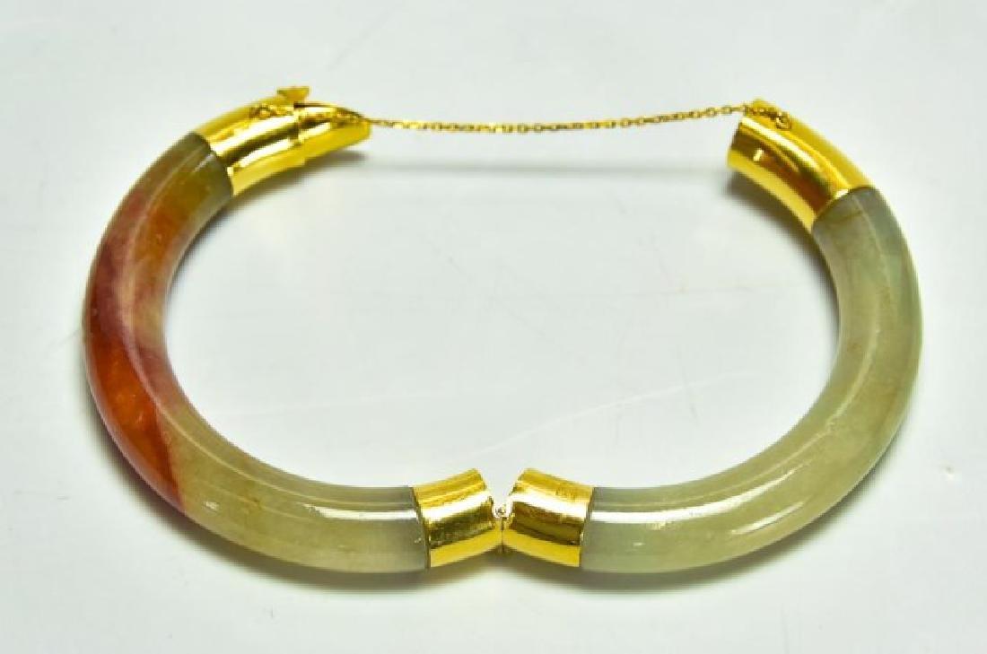 18kt Gold & Jade Bangle Bracelet - 4