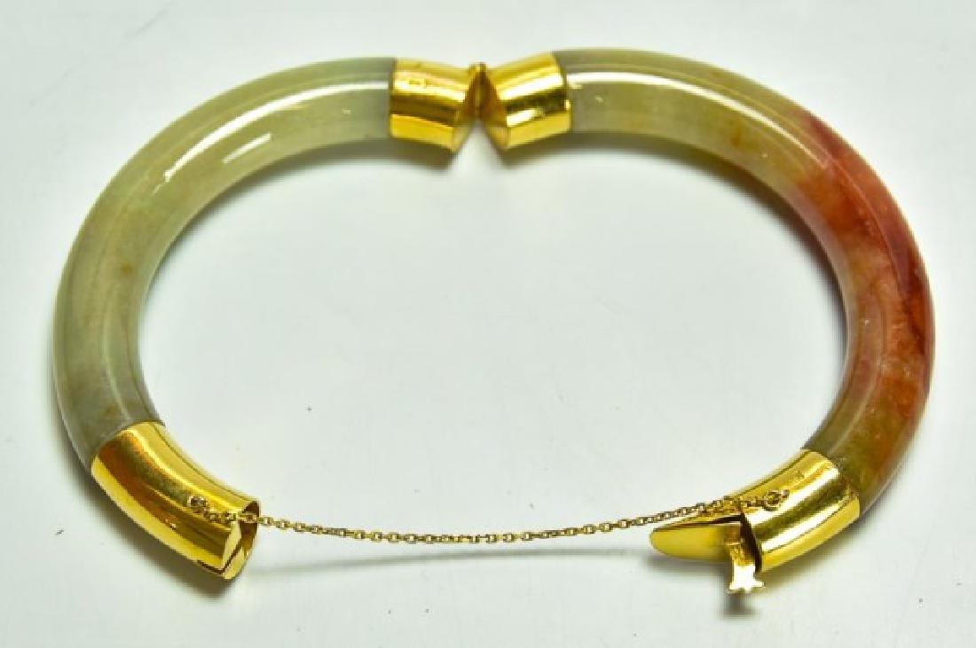 18kt Gold & Jade Bangle Bracelet - 5