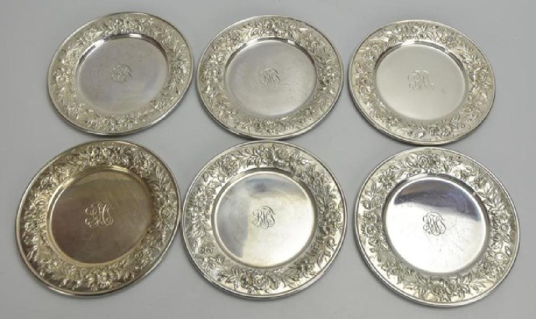 6 S. Kirk & Son Sterling Repousse Bread Plates