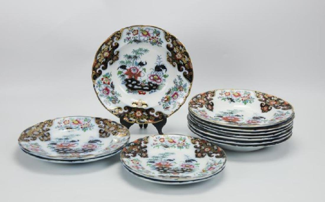 8 English Ironstone Chinoiserie Soup Bowls, Etc.