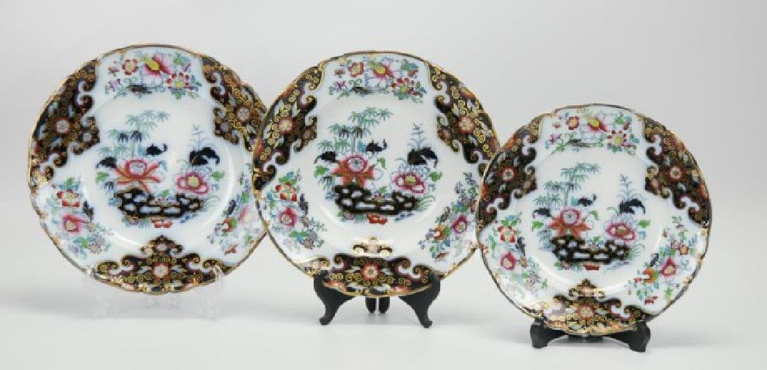 8 English Ironstone Chinoiserie Soup Bowls, Etc. - 2