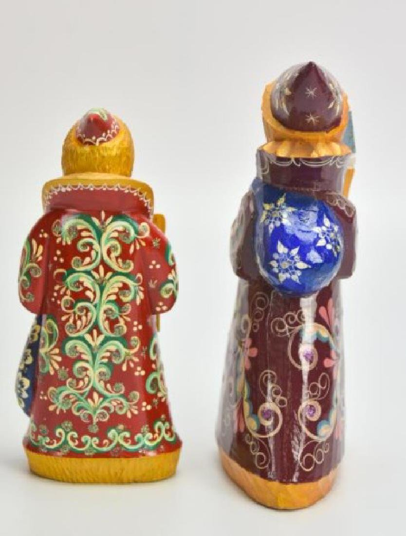 5 Russian Carved & Painted Wood Santa Figures - 10