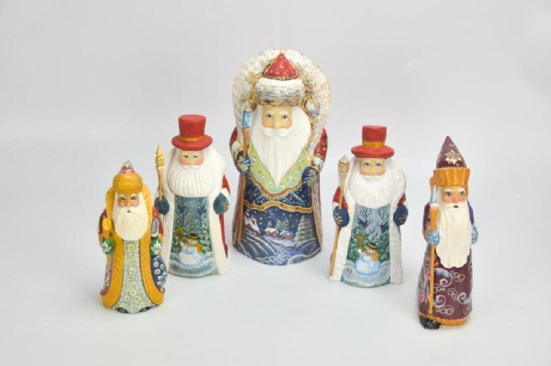 5 Russian Carved & Painted Wood Santa Figures