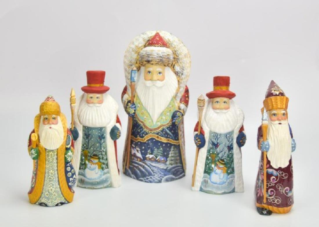 5 Russian Carved & Painted Wood Santa Figures - 4