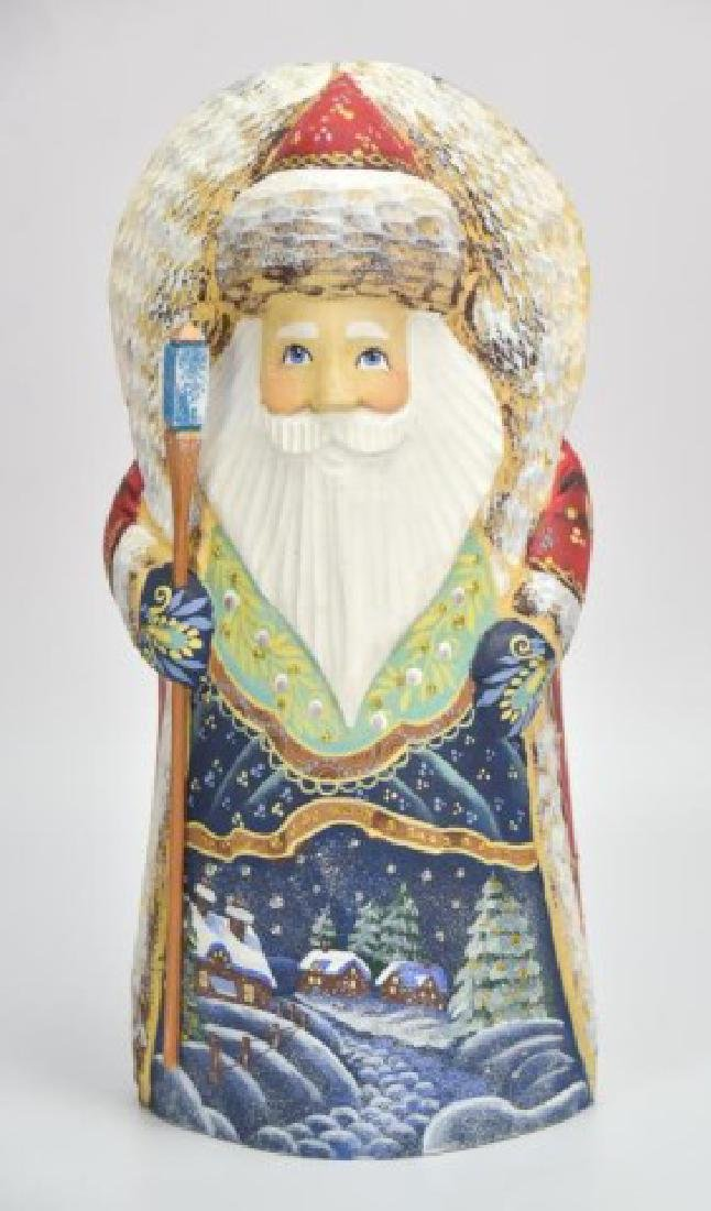 5 Russian Carved & Painted Wood Santa Figures - 5