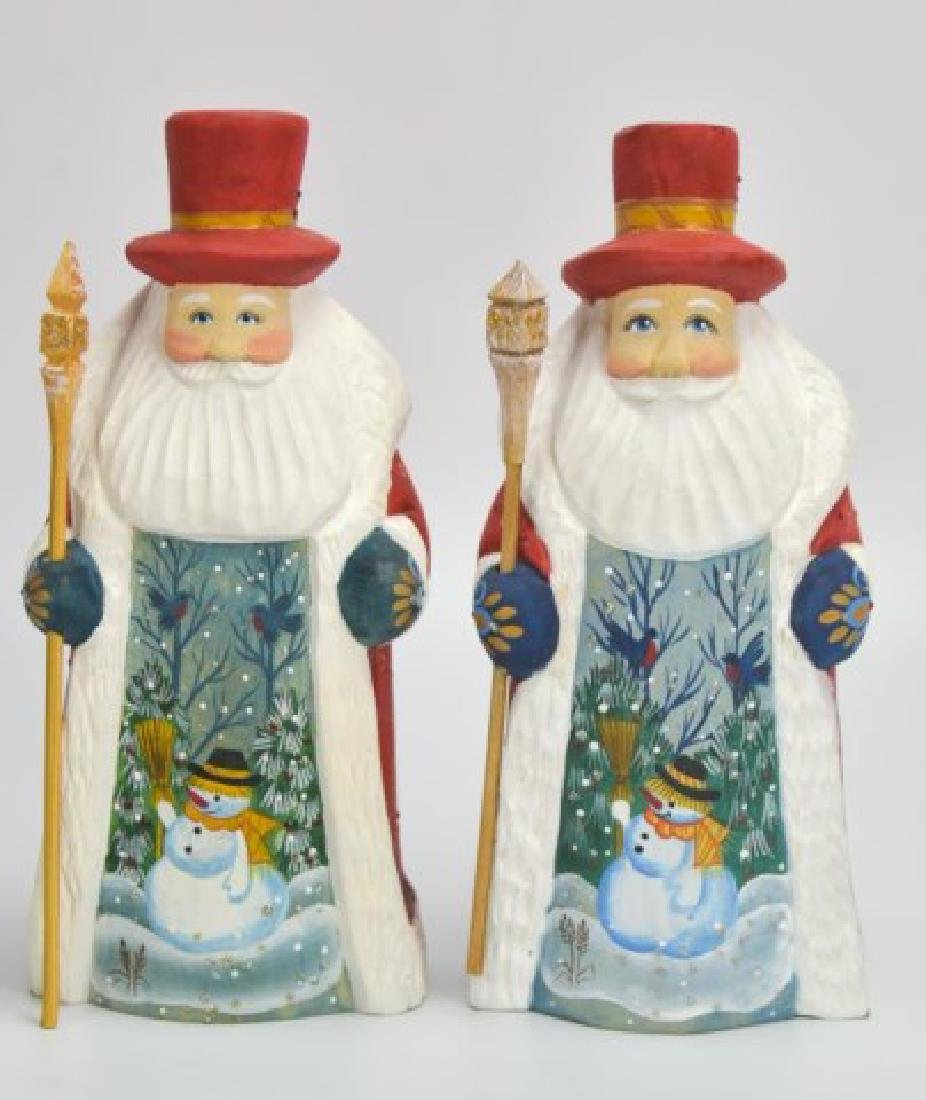 5 Russian Carved & Painted Wood Santa Figures - 7