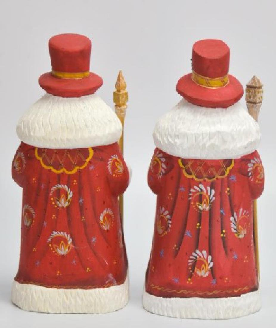 5 Russian Carved & Painted Wood Santa Figures - 8