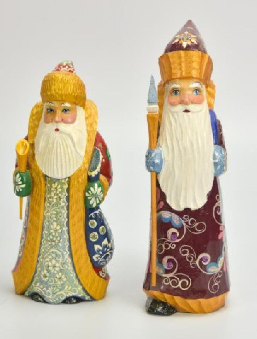 5 Russian Carved & Painted Wood Santa Figures - 9