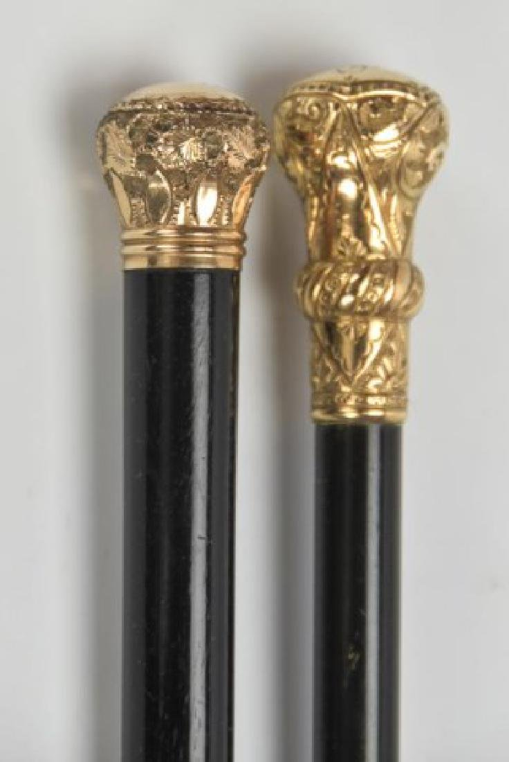 Two Gold Plated Walking Sticks - 4