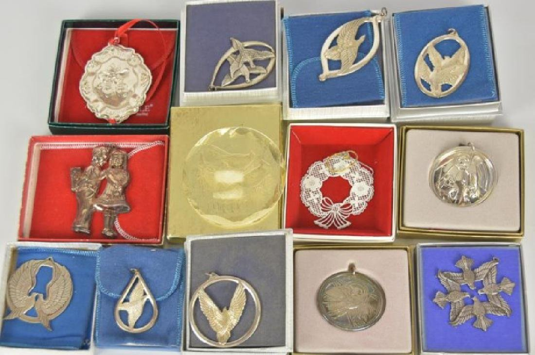 15 Christmas Ornaments, Mostly Sterling