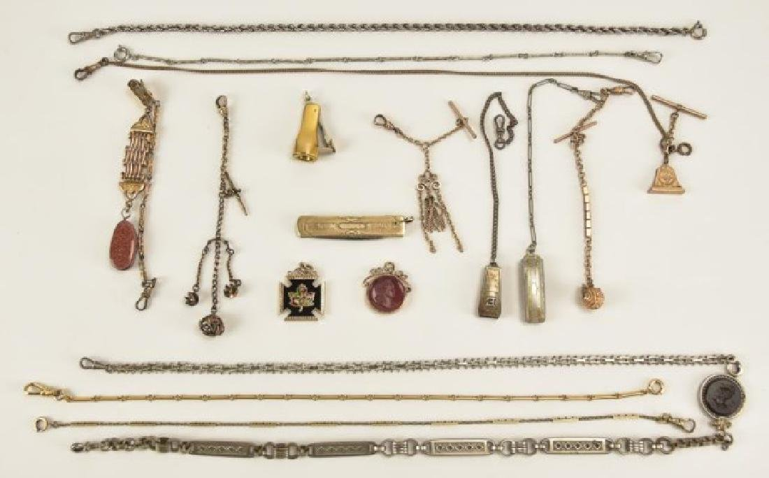 Assorted Pocket Watch Chains and Fobs