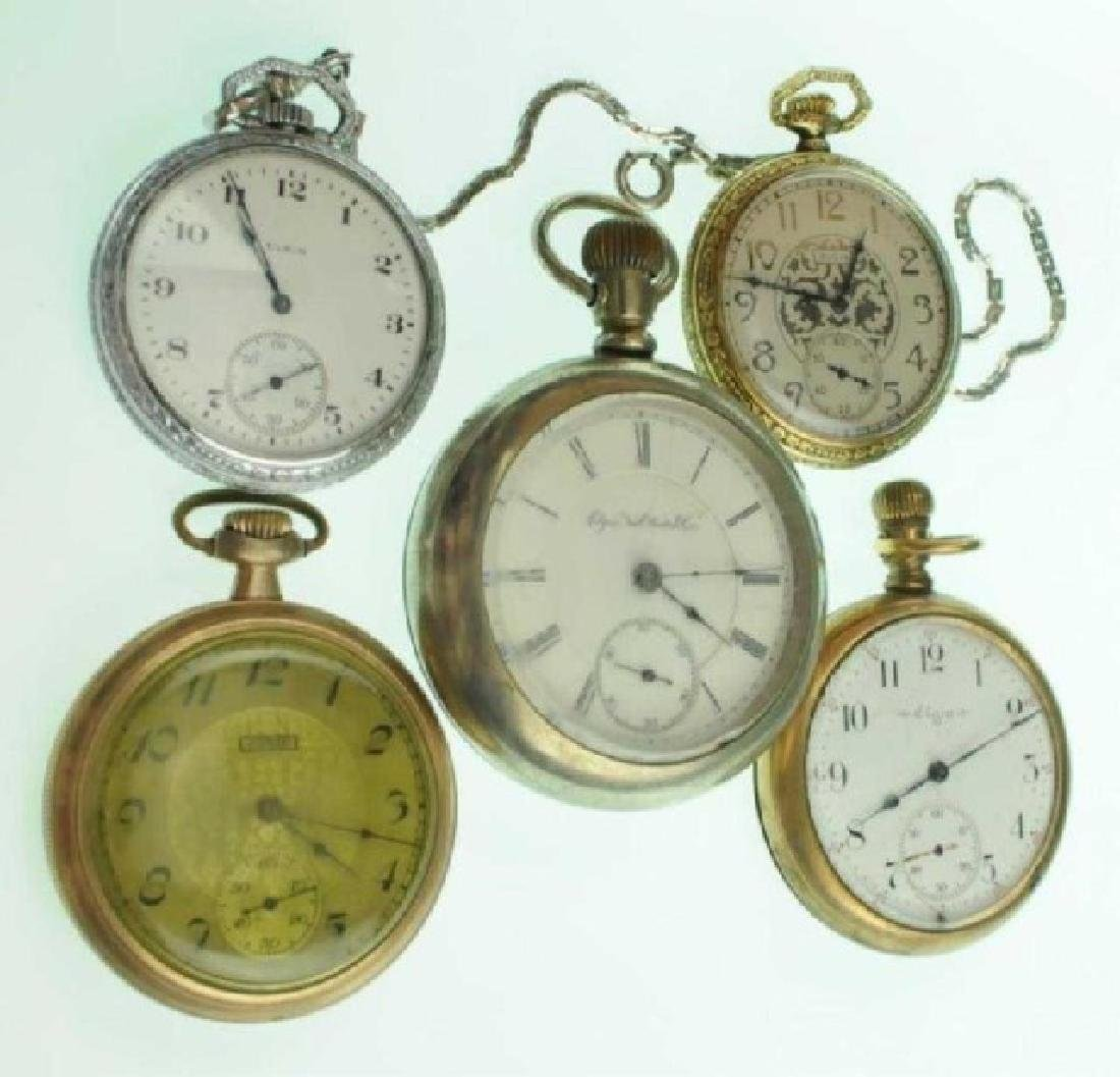 Five Elgin Open Face Pocket Watches
