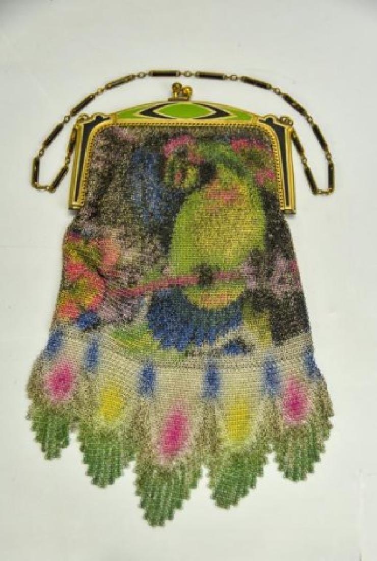 Vibrant Art Deco Evening Bag w/ Parrot, W&D