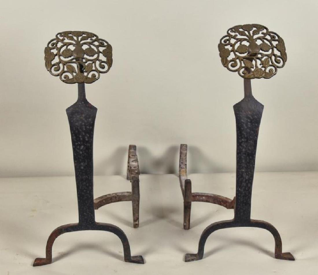 Pr. of Aesthetic Brass and Cast Iron Andirons