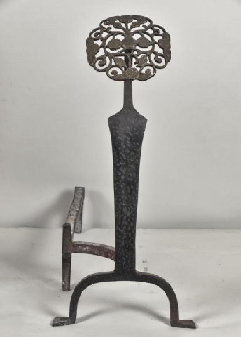 Pr. of Aesthetic Brass and Cast Iron Andirons - 4
