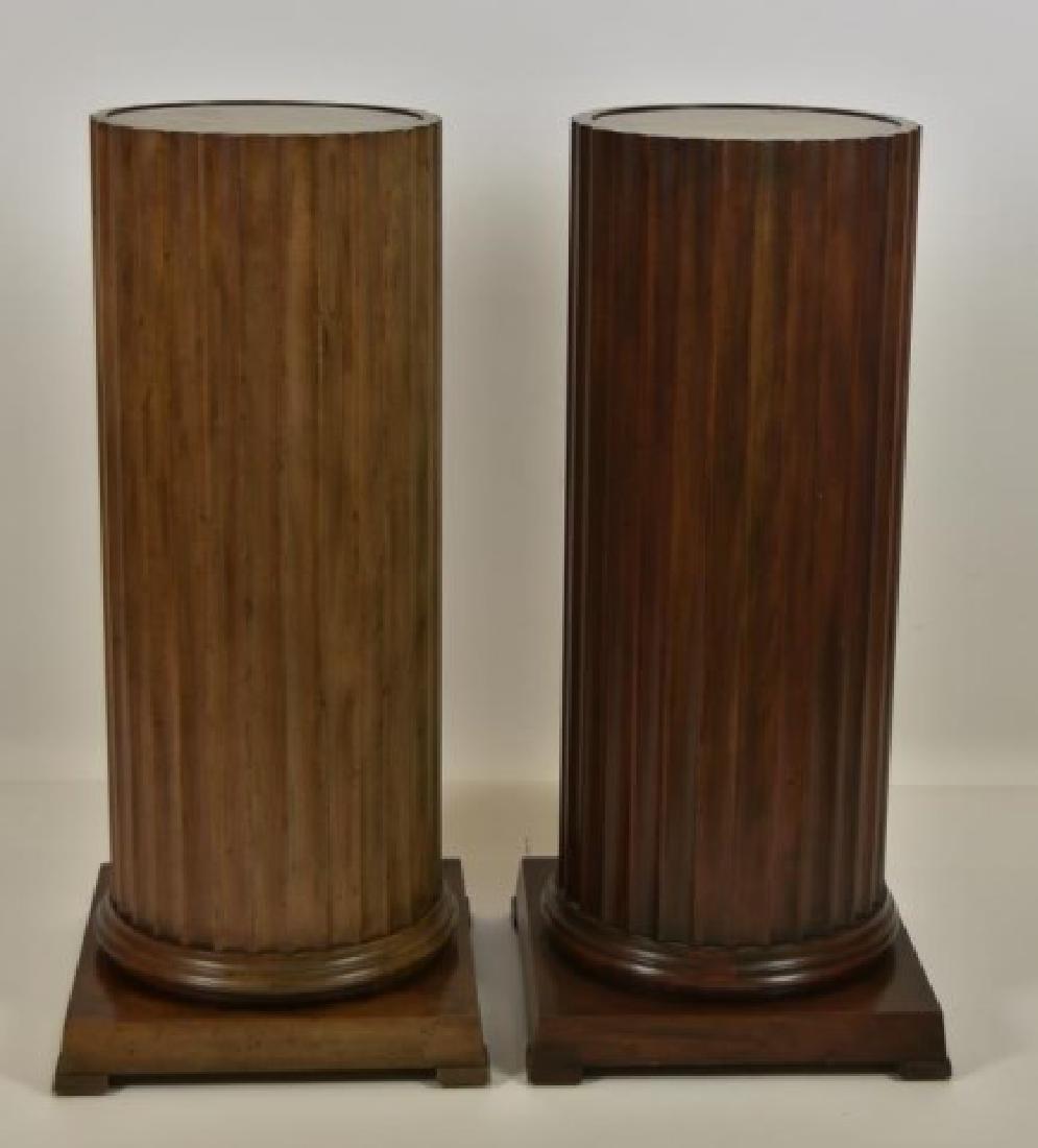 Pr. Baker Furniture Burled Walnut Pedestals