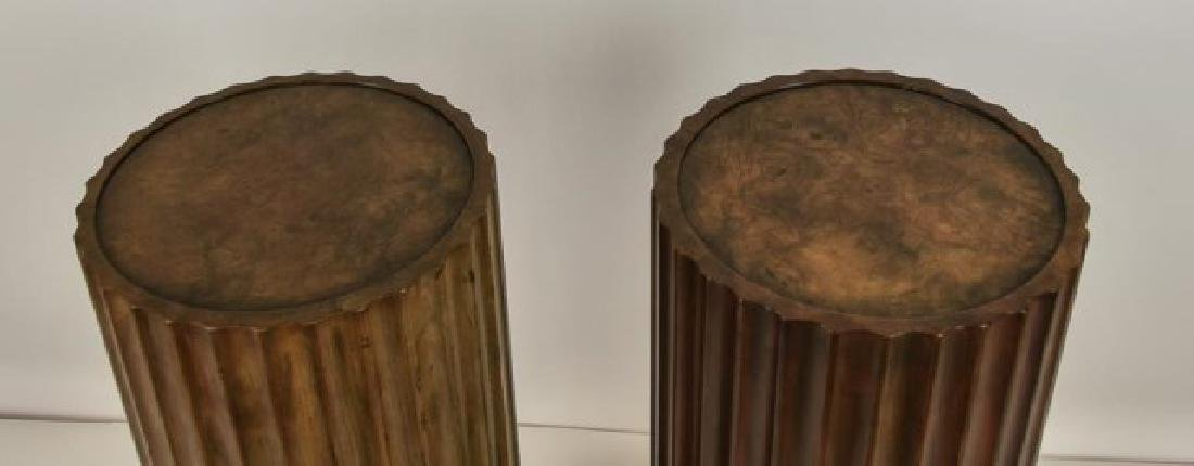 Pr. Baker Furniture Burled Walnut Pedestals - 3