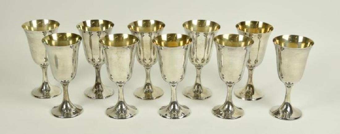 Set of Ten Sterling Silver Goblets