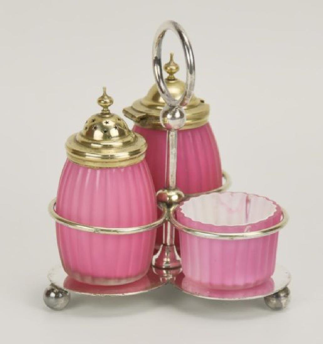 Ribbed Satin Glass 3-Piece Condiment Set in Stand