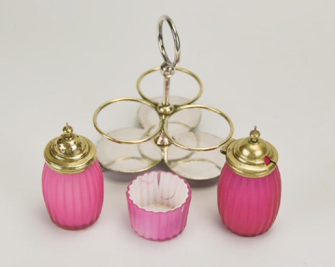 Ribbed Satin Glass 3-Piece Condiment Set in Stand - 2