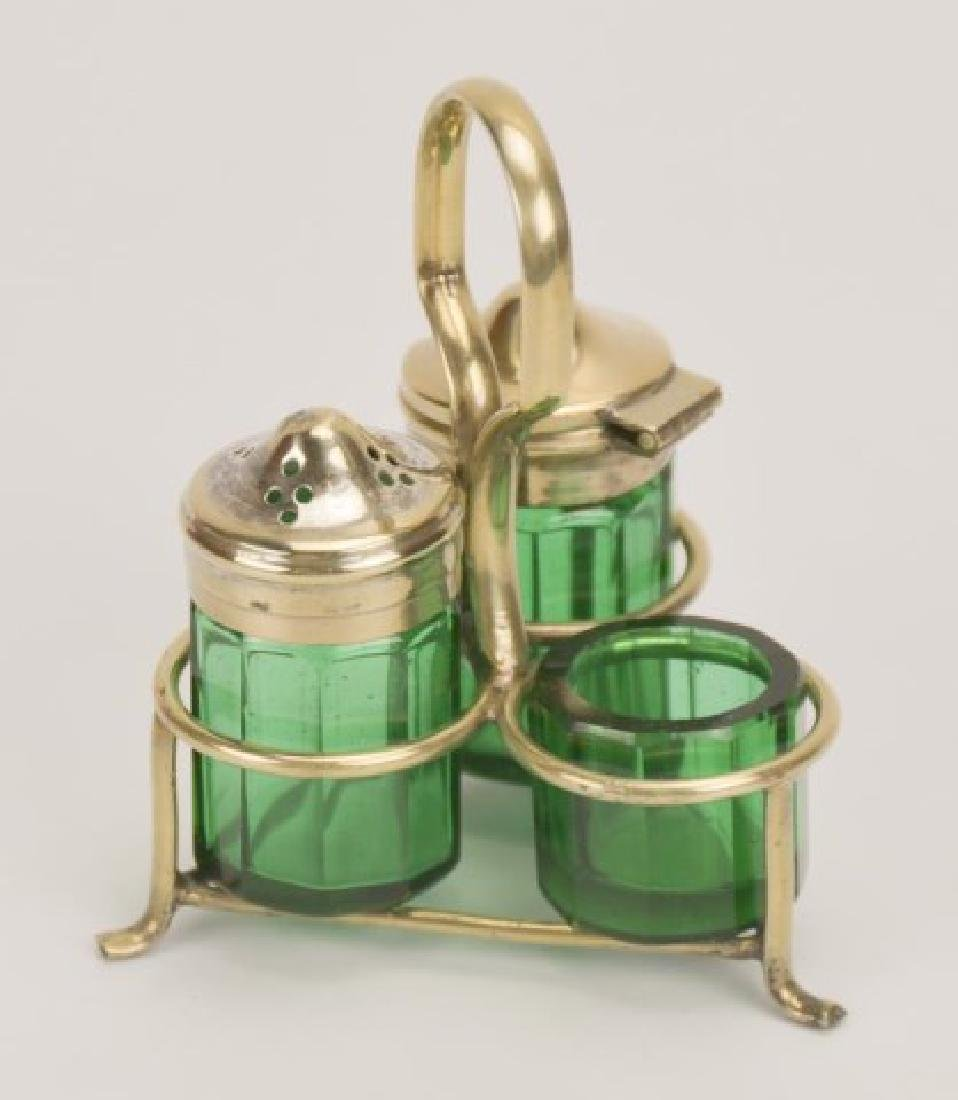 Two Glass Condiment Sets in Stands - 3
