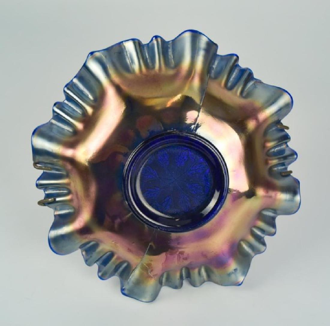 Amber Pickle Caster & Fenton Carnival Glass Bowl - 6
