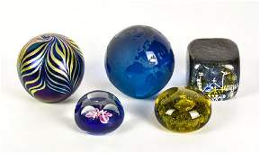 5 Artist Signed Art Glass Paperweights