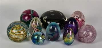 Ten Signed Art Glass Paperweights