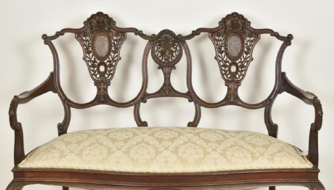 French Mahogany Double Chair Back Settee - 2