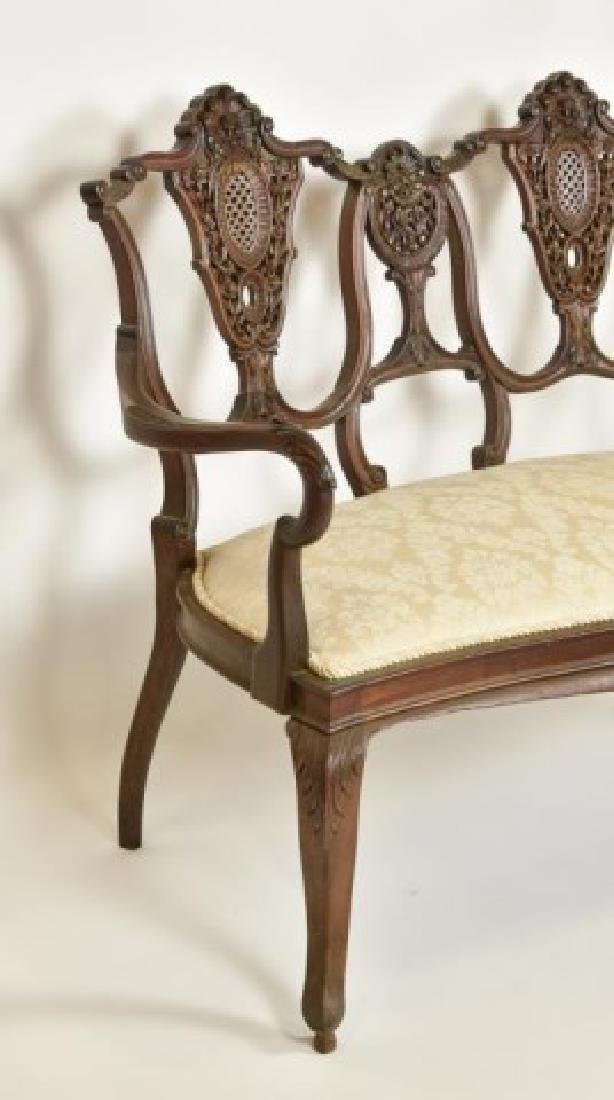French Mahogany Double Chair Back Settee - 5