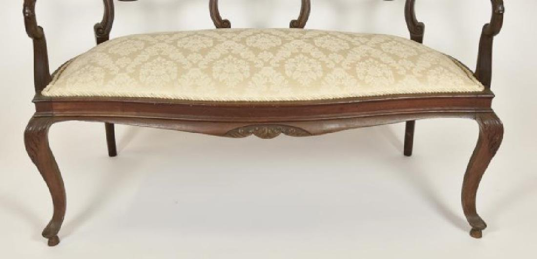 French Mahogany Double Chair Back Settee - 7
