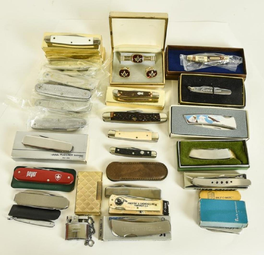 Pocket Knives, Masonic Jewelry, Two Lighters