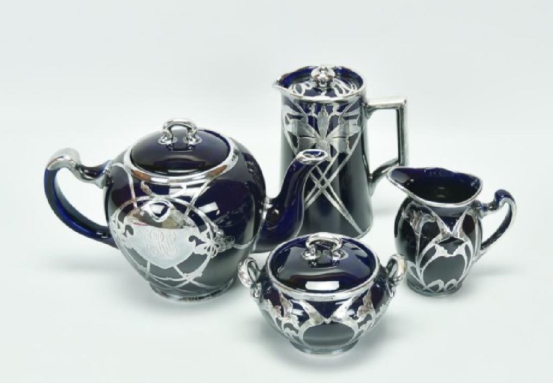 4 Pcs. Sterling Overlay Lenox Cobalt Porcelain