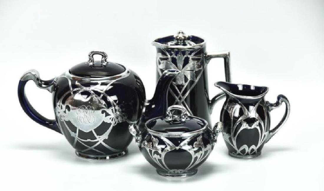 4 Pcs. Sterling Overlay Lenox Cobalt Porcelain - 2