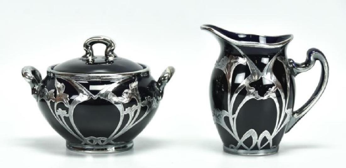 4 Pcs. Sterling Overlay Lenox Cobalt Porcelain - 4