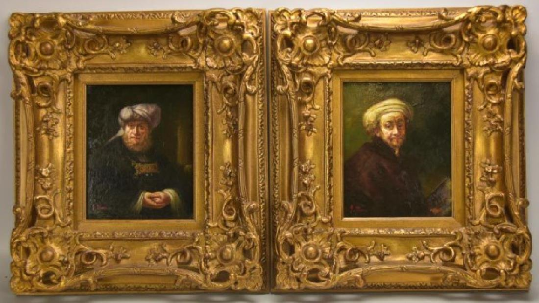 Pr. Old Masters Style Oil on Panel Portraits