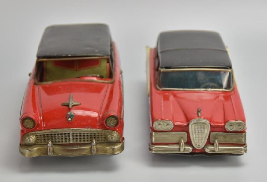 2 Japanese Tin Litho Friction Station Wagons