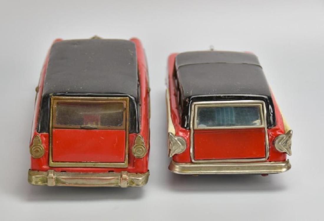2 Japanese Tin Litho Friction Station Wagons - 2
