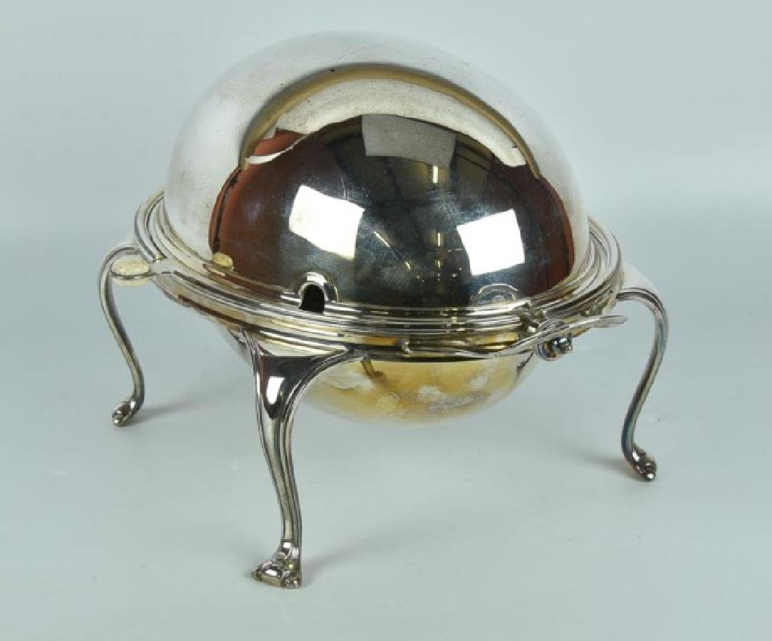 Antique Silver Plated Server / Bacon Warmer - 3