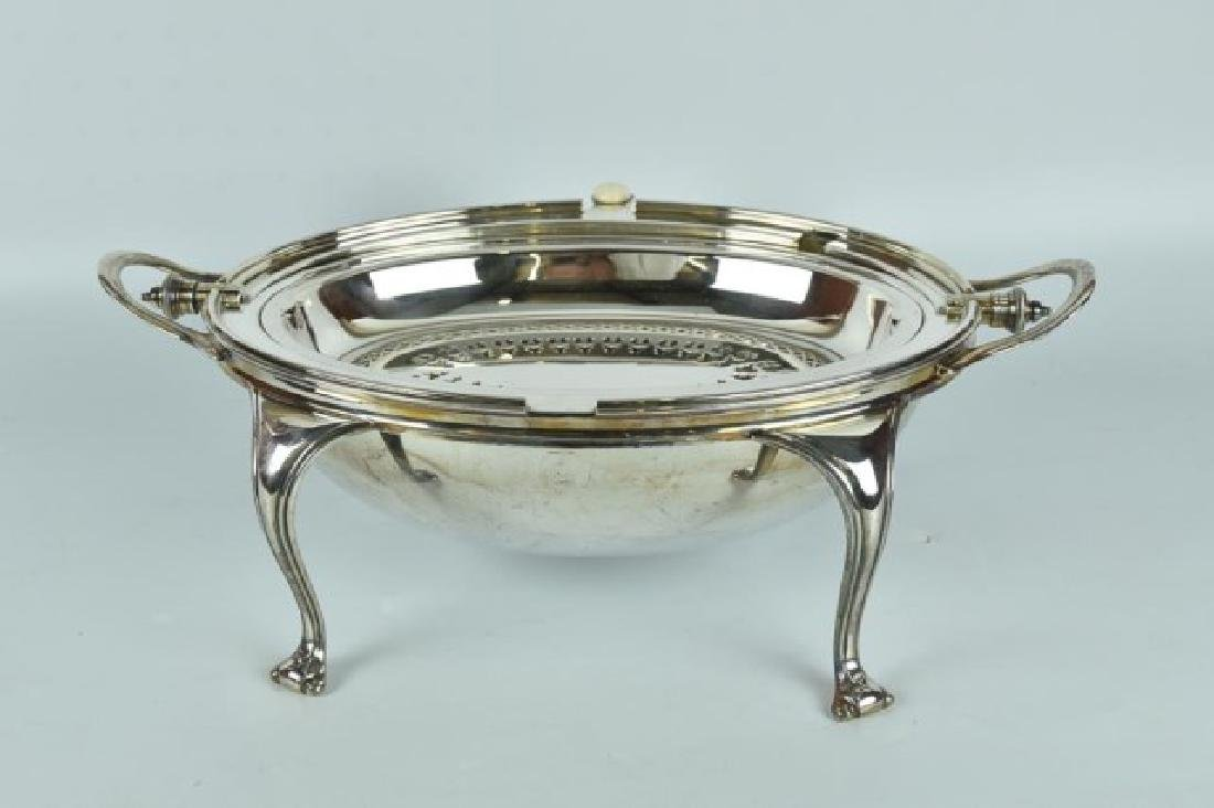 Antique Silver Plated Server / Bacon Warmer - 4