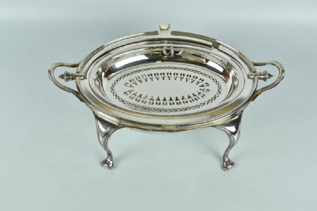Antique Silver Plated Server / Bacon Warmer - 5