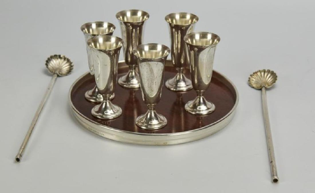 American Sterling Cordials & Tray, Straws