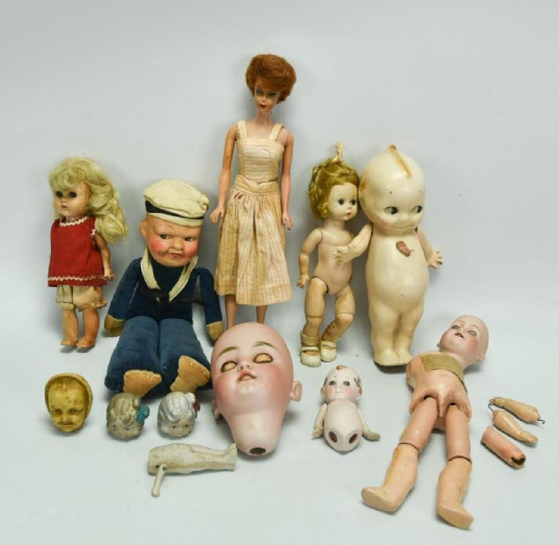 Lot of Dolls, Doll Parts, Clothes